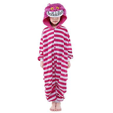 Пижамы кигуруми Кошка Цельные пижамы Костюм Velvet норки Розовый Косплей Для Детские Нижнее и ночное белье животных Мультфильм День всех
