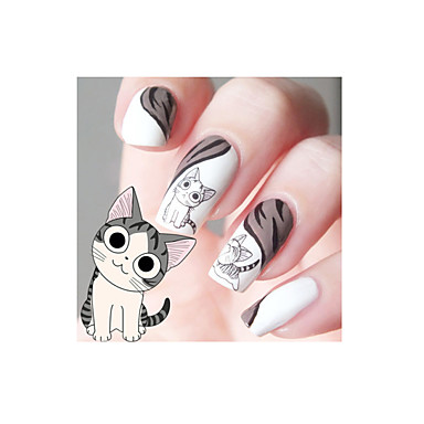 1pcs ontworpen gelukkige leuke kat patroon water decals transfers nail art salon decor stickers tips diy decoraties