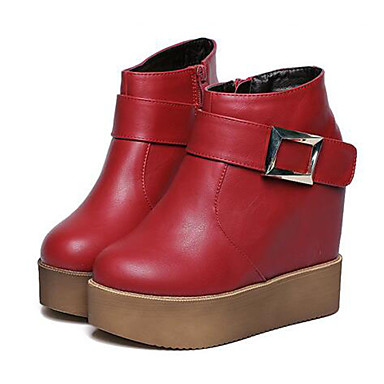 Støvler-Kunstlæder-Ridestøvler-Dame-Sort Rød-Udendørs Fritid-Kilehæl