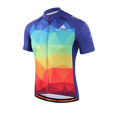 31a6b1b74 Miloto Men s Women s Unisex Short Sleeve Cycling Jersey - Blue+Red Gradient  Plus Size Bike