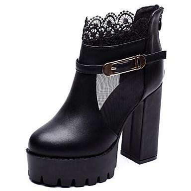 Støvler-Kunstlæder-Hæle / Ridestøvler-Dame-Sort-Udendørs / Hverdag-Tyk hæl