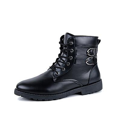 Støvler-Læder-Modestøvler-Herre-Sort Brun-Udendørs Fritid-Flad hæl