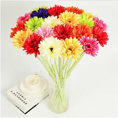 1pc 1 Afdeling Polyester / Plastik Tusindfryd Bordblomst Kunstige blomster 11.81inch/30CM