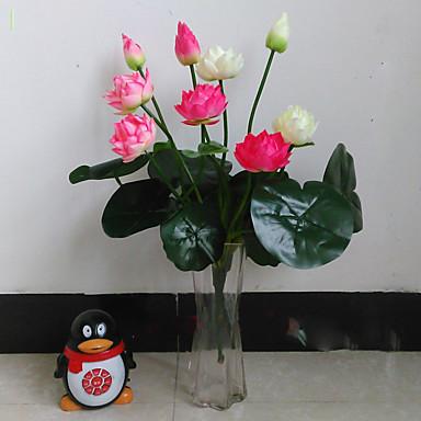 1 1 Branch Polyester / Plastikk Lotus Bordblomst Kunstige blomster 18.51inch/47cm