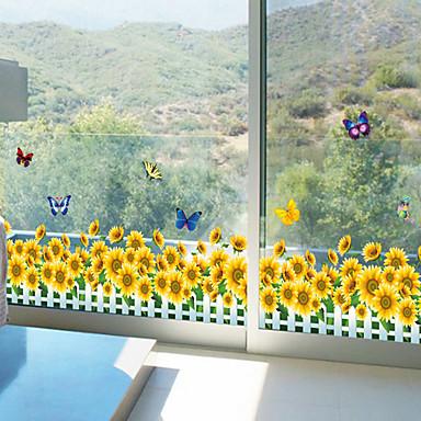 Blomster Wall Stickers Fly vægklistermærker Dekorative Mur Klistermærker,PVC Materiale Kan fjernes Hjem Dekoration Vægoverføringsbillede