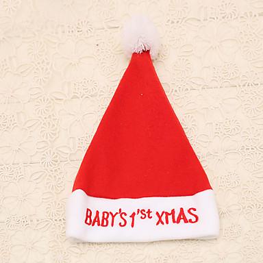 1 Stk. Røde Broderet Baby Jul Ord Nissehue Nye År Kasket Festartikler