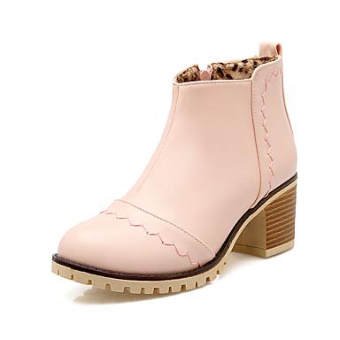 Støvler-Kunstlæder-Modestøvler-Dame-Sort Rosa Grå Beige-Udendørs Kontor Fritid-Tyk hæl