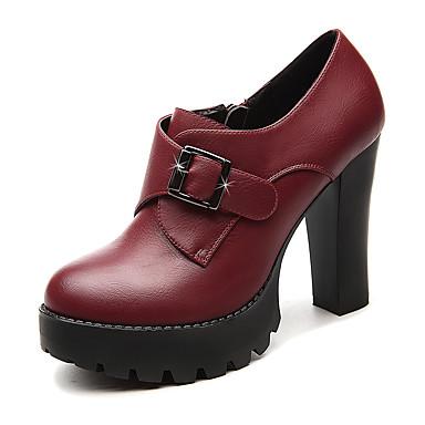 Feminino Sapatos Courino Outono Saltos Salto Grosso Presilha Para Casamento Social Preto Vinho