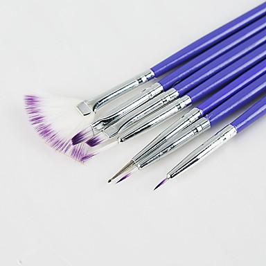 7 kpl / asetetaan Nail art harja asetettu muoti violetti kahva harja kynsien maalaus