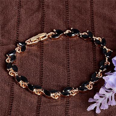 Damen Mädchen´ Ketten- & Glieder-Armbänder Modisch Vintage bezaubernd Krystall vergoldet Ovale Form Schwarz Fuchsia Rot Grün Hellblau