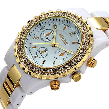 Herre Par Modeur Armbåndsur Casual Ur Simuleret Diamant Ur Quartz / Imiteret Diamant Keramik Bånd Afslappet Hvid Guld