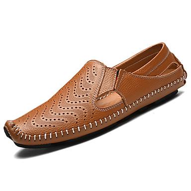 Herrn Schuhe Leder Frühling Herbst Komfort Loafers & Slip-Ons Walking für Normal Weiß Braun Blau