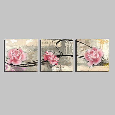 Stretched Canvas Print Botanical Three Panels Square Print Wall Decor Home Decoration