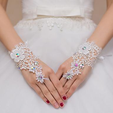 Spitze Polyester Handgelenk-Länge Handschuh Brauthandschuhe Party / Abendhandschuhe With Paillette