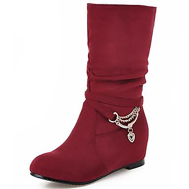 Damen Schuhe Vlies Herbst Winter Slouch Stiefel Modische Stiefel Stiefel Niedriger Heel Booties / Stiefeletten Mittelhohe Stiefel Kette