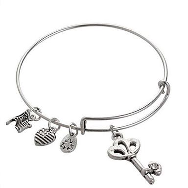 Homens Feminino Bracelete imitação de diamante Liga Moda Formato Oval Jóias Amor Prata Dourado Jóias 1peça