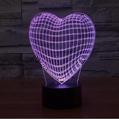 liebevolle Herznote, die 3d führte, führte Nachtlicht 7colorful Dekoration-Atmosphärenlampen-Neuheitbeleuchtungslicht