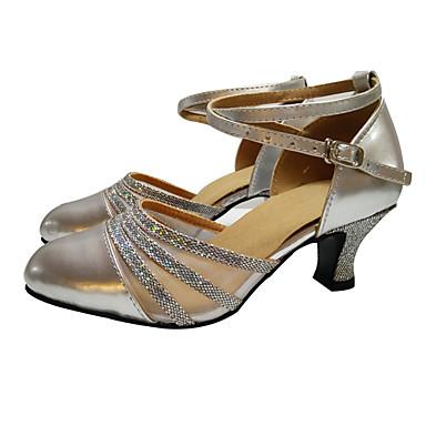 Kadın's Modern Dans Ayakkabıları / Balo Suni Deri Yüksek Topuklular / Sandaletler / Topuklular Saten Çiçek / Işıltılı Pullar / Toka Küba Topuk Kişiselletirilmemiş Dans Ayakkabıları Siyah / Güm