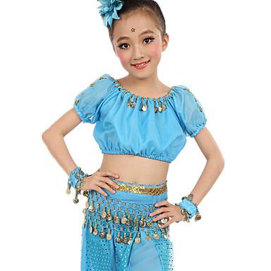 Buikdans Outfits Dames Prestatie Polyester Chiffon Satijn Gouden munten Korte Mouw Natuurlijk Top Broeken Riem Armbanden Hoofddeksels