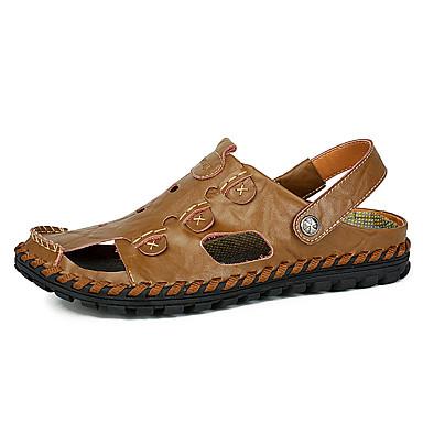 Masculino sapatos Couro Verão Sandálias Caminhada Para Casual Preto Amarelo Khaki