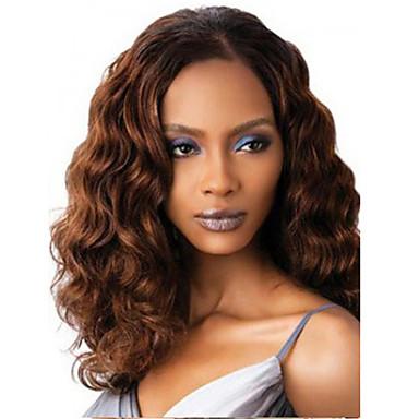 Syntetiske parykker Bølget tetthet Dame Brun capless parykker Medium Lang Syntetisk hår