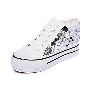 Sneakers-Stof-Komfort-Dame-Sort / Hvid-Udendørs / Sport-Flad hæl