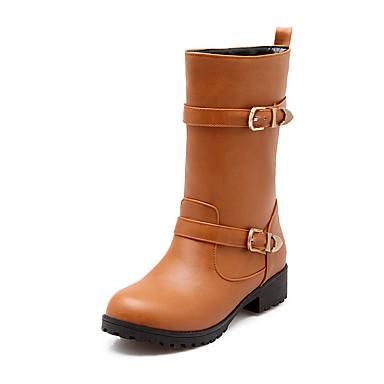 Støvler-Kunstlæder-Ridestøvler-Dame-Sort / Brun-Formelt-Tyk hæl