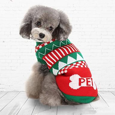 Gato Cachorro Súeters Roupas para Cães Casual Mantenha Quente Natal Riscas Verde Azul Ocasiões Especiais Para animais de estimação