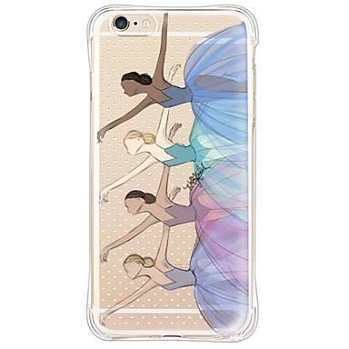 Capinha Para Apple iPhone 6 iPhone 6 Plus Anti-poeira Antichoque Transparente Capa traseira Mulher Sensual Macia TPU para iPhone 6s Plus