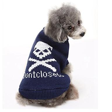 Katze / Hund Pullover Hundekleidung Totenkopf Motiv Grau / Blau / Rosa Baumwolle Kostüm Für Haustiere Herrn / Damen Lässig / Alltäglich / warm halten