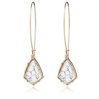 Vintage populære smykker tilbehør uregelmæssig geometrisk turkis sten dangle øreringe lange øreringe til kvinder