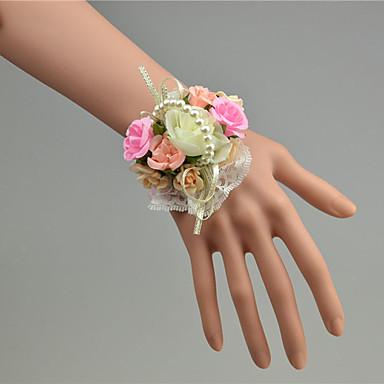 Bryllupsblomster Håndledscorsage Bryllup Tyll Perler Blonde 1.18 tommer (ca. 3 cm)