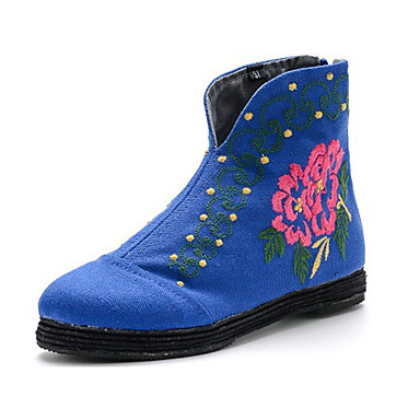 Støvler-Stof-Komfort-Dame-Sort Blå Rød-Udendørs-Flad hæl