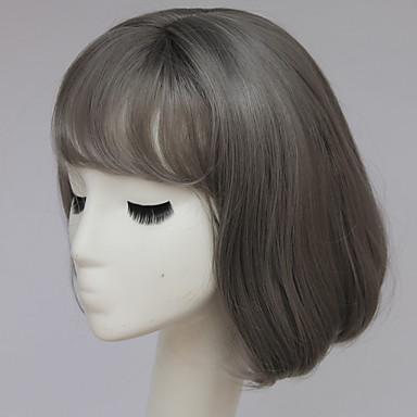 muoti harmaa lyhyt peruukki lyhyt harmaa bob peruukki hapsut bang lyhyet ruskeat hiukset peruukit muoti naisten