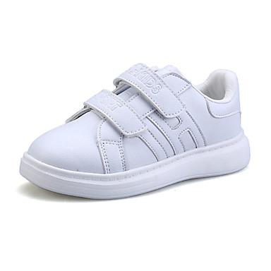 Drenge Pige Sneakers Komfort PU Forår Efterår Afslappet Komfort Magisk tape Flad hæl Hvid Sølv Gylden Flad