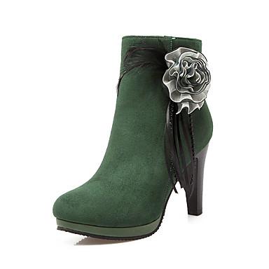 Støvler-Kunstlæder-Modestøvler-Dame-Sort Grøn Rød-Udendørs Kontor Fritid-Tyk hæl