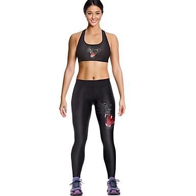 Dame Sports-BH m. tilhørende løbebukser Uden ærmer Hurtigtørrende Åndbart Komprimering Leggins Tøjsæt Underdele for Yoga Træning &