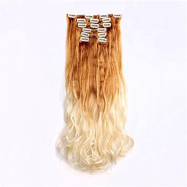 paryk 24inch 60cm bølget krøllede 7pcs / sætter 16 klip i håret syntetisk klip i lilla ombre hair extensions 27t613 #