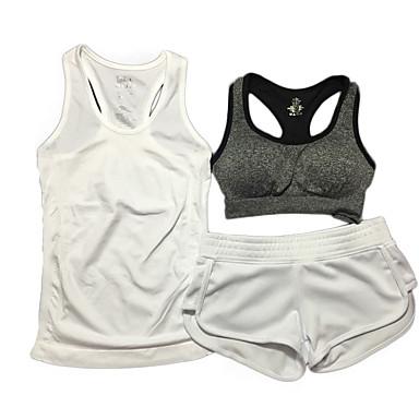 Dame SportsBH'er Åndbart Komprimering Stødsikker SportsBH'er Shorts Tøjsæt Toppe for Yoga Træning & Fitness Løb Nylon Grå Lilla Rose Rød