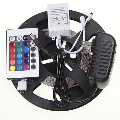 SENCART 5m Lichtsets 300 LEDs 5630 SMD RGB Fernbedienungskontrolle / Schneidbar / Verbindbar 100-240 V / Für Fahrzeuge geeignet / Selbstklebend / Farbwechsel
