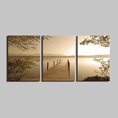 abordables Toiles-Imprimé Impressions sur toile roulées - Paysage Classique Traditionnel Trois Panneaux Art Prints