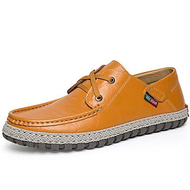 Homens Sapatos Pele Napa Primavera Verão Outono Conforto Oxfords para Casual Escritório e Carreira Festas & Noite Preto Castanho Claro