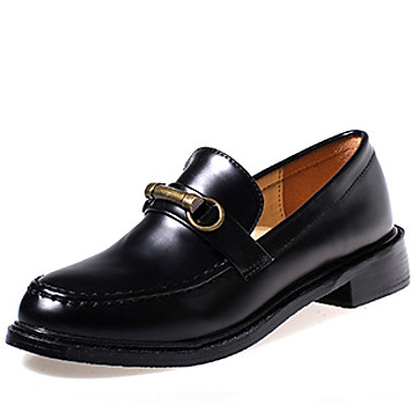 Dame-PU-Tykk hæl-Komfort / Rund tå-一脚蹬鞋、懒人鞋-Friluft-Svart / Burgunder
