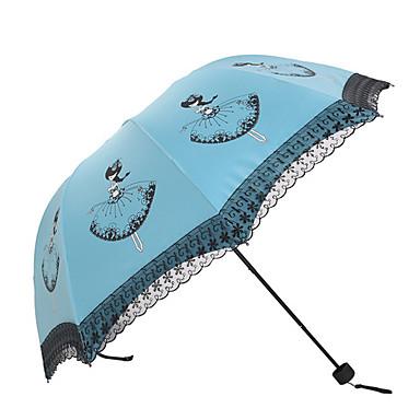 Valkoinen / Vihreä / Sininen / Vaaleanpunainen / Violetti / Rose Taitettava sateenvarjo Aurinkoinen ja sateinen tekstiili Rouva
