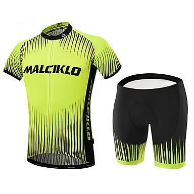 Malciklo Heren Korte mouw Wielrenshirt met shorts Brits Fietsen Pakken, 3D Pad, Sneldrogend, Ademend, Lente Zomer, Lycra
