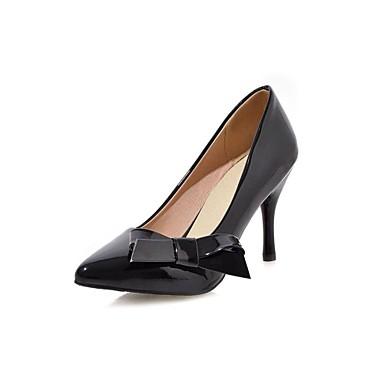 Mulheres Sapatos Couro Envernizado Verão Outono Saltos Salto Agulha Laço para Casual Escritório e Carreira Branco Preto Vermelho