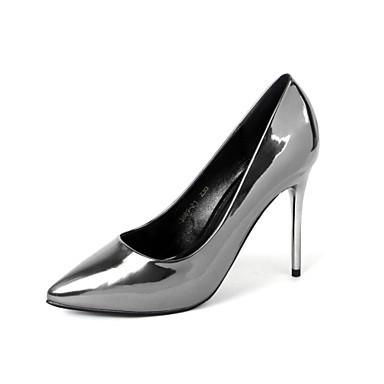 Støvler-Kunstlæder-Modestøvler Originale Gladiator Basispumps-Dame-Sølv Grå-Bryllup Formelt Fest/aften-Stilethæl