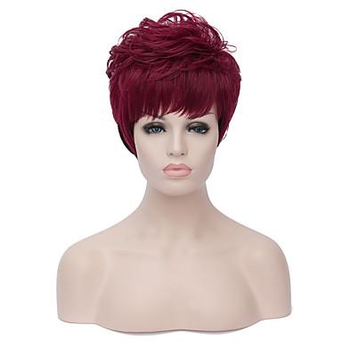 Synthetische Haare Perücken Kappenlos Karnevalsperücke Halloween Perücke Capless Perücken Kurz Rot