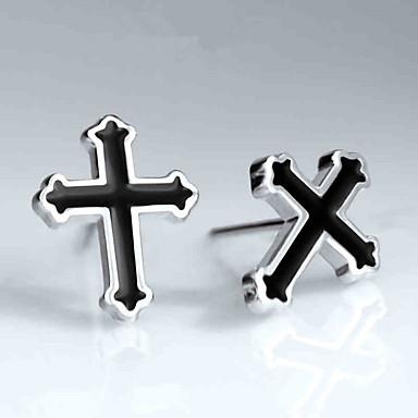 Kors Formet Smykker Dame Herre Mote Daglig Avslappet Sølv 1 par Svart