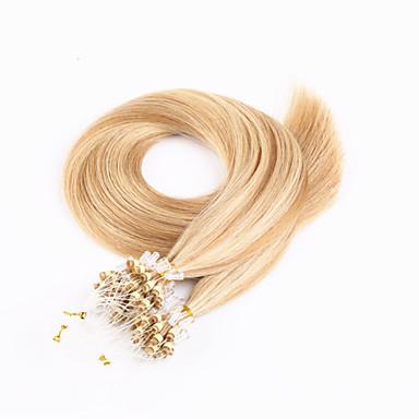 100'erne brasiliansk hår mikro loop hår extensions silkeagtig straight menneskelige hår mikro ringe links hårpåsætning